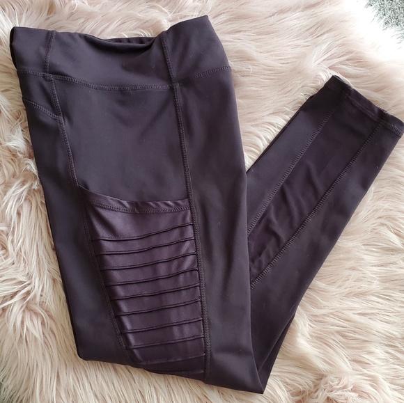 Mono B Pants - Moto Ribbed Splice Mesh Pocket Leggings